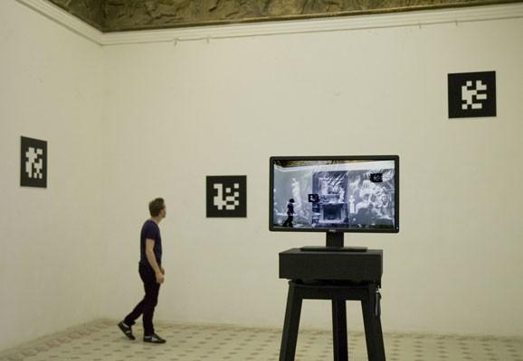 Augmented Memory, Tamás Szvet, computerunterstützte interaktive Installation, Parthenon -Frieze Hall Budapest, 2012