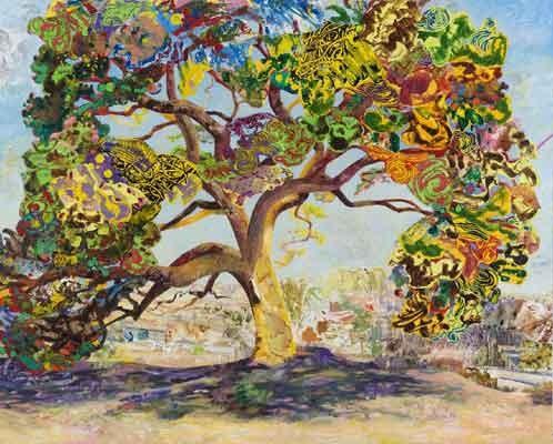 The Eyed Tree #4, Mary Lou Zelazny, 2015, Foto: Tom Van Endye, Acryl, Collage, Öl auf Leinwand