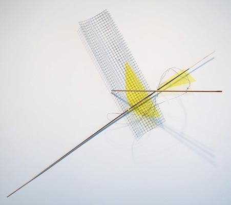 Untitled 2013 , Alice Cattaneo, iron netting, balsa wood, iron, yellow acetate, cable ties, wire