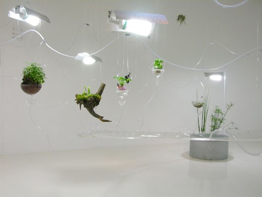 Food Islands , Photo: Andrea Caretto, Raffaella Spagna, installation for the exhibition «O», RURART Art Center, Rouillé, France, 2008