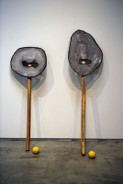 Copyright Dan Price, glazed ceramic, axe handles, lemons, 2016