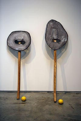 The Critics, Dan Price, glazed ceramic, axe handles, lemons, 2016