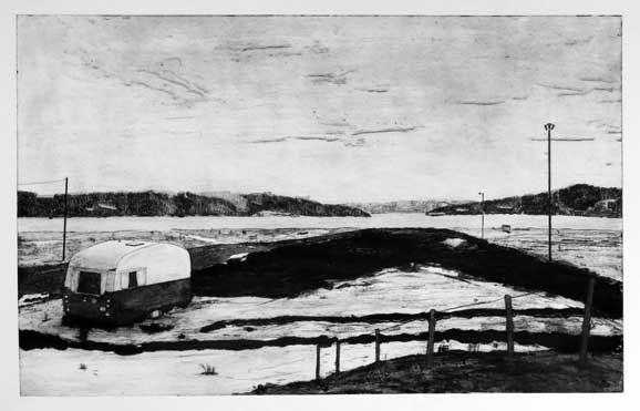 Along the river V, Ulla-Carin Winter, collograph intaglio, 2015