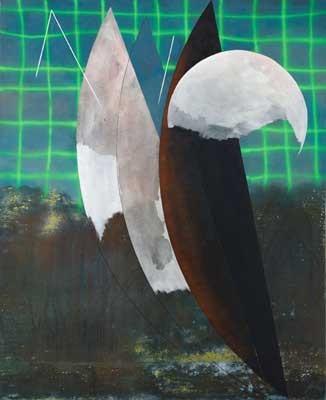 NO DATA no.26, Josef Achrer, aus der DATA Serie, 225x183cm, Acryl, Emaille, Leinwand, 2018