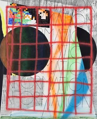 No information no. 2 , Josef Achrer, aus der DATA Serie, 225x183cm, Acryl, Emaille, Leinwand, 2016-18